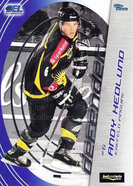 2005-06 German DEL Defender #7 Andy Hedlund<br/>1 In Stock - $3.00 each - <a href=https://centericecollectibles.foxycart.com/cart?name=2005-06%20German%20DEL%20Defender%20%237%20Andy%20Hedlund...&quantity_max=1&price=$3.00&code=126234 class=foxycart> Buy it now! </a>