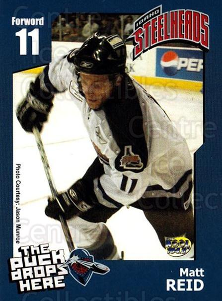 2005-06 Idaho Steelheads #18 Matt Reid<br/>1 In Stock - $3.00 each - <a href=https://centericecollectibles.foxycart.com/cart?name=2005-06%20Idaho%20Steelheads%20%2318%20Matt%20Reid...&quantity_max=1&price=$3.00&code=126645 class=foxycart> Buy it now! </a>