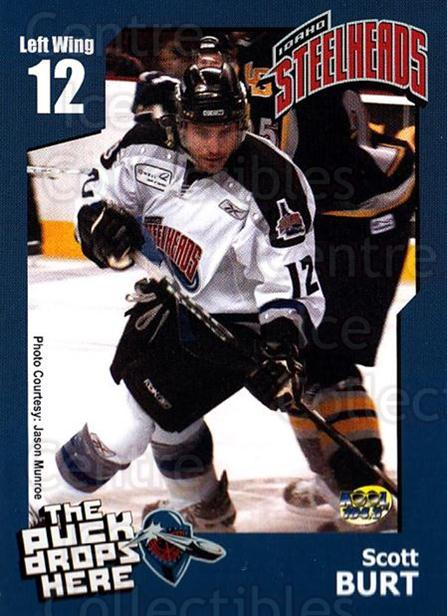 2005-06 Idaho Steelheads #4 Scott Burt<br/>2 In Stock - $3.00 each - <a href=https://centericecollectibles.foxycart.com/cart?name=2005-06%20Idaho%20Steelheads%20%234%20Scott%20Burt...&quantity_max=2&price=$3.00&code=126650 class=foxycart> Buy it now! </a>