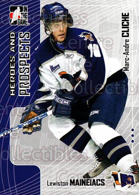 2005-06 ITG Heroes and Prospects #138 Marc-Andre Cliche<br/>18 In Stock - $1.00 each - <a href=https://centericecollectibles.foxycart.com/cart?name=2005-06%20ITG%20Heroes%20and%20Prospects%20%23138%20Marc-Andre%20Clic...&price=$1.00&code=126701 class=foxycart> Buy it now! </a>