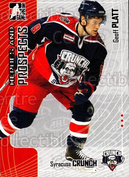 2005-06 ITG Heroes and Prospects #242 Geoff Platt<br/>7 In Stock - $1.00 each - <a href=https://centericecollectibles.foxycart.com/cart?name=2005-06%20ITG%20Heroes%20and%20Prospects%20%23242%20Geoff%20Platt...&price=$1.00&code=126806 class=foxycart> Buy it now! </a>