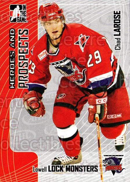 2005-06 ITG Heroes and Prospects #243 Chad Larose<br/>6 In Stock - $1.00 each - <a href=https://centericecollectibles.foxycart.com/cart?name=2005-06%20ITG%20Heroes%20and%20Prospects%20%23243%20Chad%20Larose...&price=$1.00&code=126807 class=foxycart> Buy it now! </a>