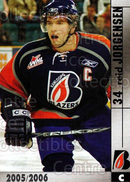 2005-06 Kamloops Blazers #10 Reid Jorgensen<br/>4 In Stock - $3.00 each - <a href=https://centericecollectibles.foxycart.com/cart?name=2005-06%20Kamloops%20Blazers%20%2310%20Reid%20Jorgensen...&quantity_max=4&price=$3.00&code=126835 class=foxycart> Buy it now! </a>