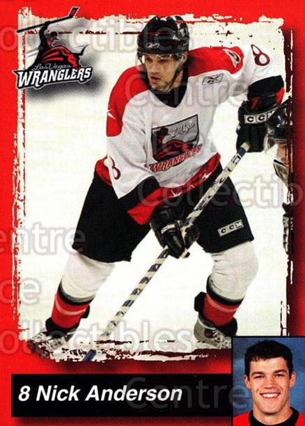 2005-06 Las Vegas Wranglers #2 Nick Anderson<br/>2 In Stock - $3.00 each - <a href=https://centericecollectibles.foxycart.com/cart?name=2005-06%20Las%20Vegas%20Wranglers%20%232%20Nick%20Anderson...&quantity_max=2&price=$3.00&code=126891 class=foxycart> Buy it now! </a>