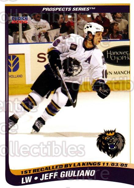 2005-06 Manchester Monarchs Series Two #8 Jeff Giuliano<br/>2 In Stock - $3.00 each - <a href=https://centericecollectibles.foxycart.com/cart?name=2005-06%20Manchester%20Monarchs%20Series%20Two%20%238%20Jeff%20Giuliano...&quantity_max=2&price=$3.00&code=127093 class=foxycart> Buy it now! </a>