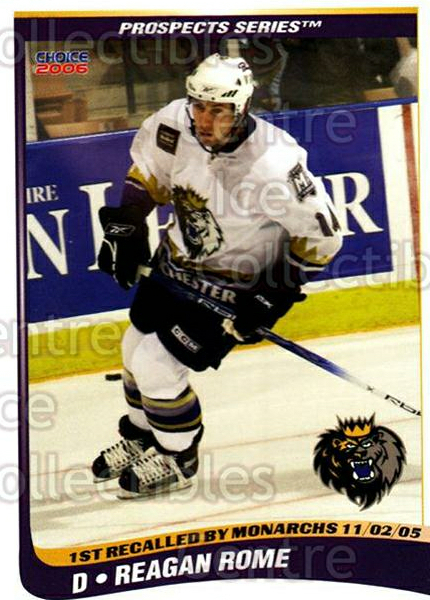 2005-06 Manchester Monarchs Series Two #19 Reagan Rome<br/>1 In Stock - $3.00 each - <a href=https://centericecollectibles.foxycart.com/cart?name=2005-06%20Manchester%20Monarchs%20Series%20Two%20%2319%20Reagan%20Rome...&quantity_max=1&price=$3.00&code=127105 class=foxycart> Buy it now! </a>