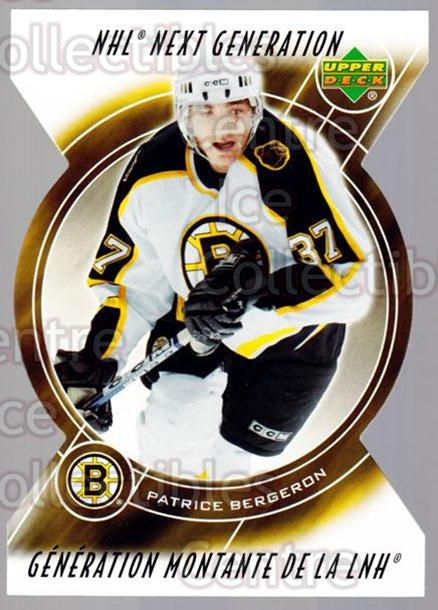 2005-06 McDonalds Upper Deck Next Generation #11 Patrice Bergeron<br/>1 In Stock - $10.00 each - <a href=https://centericecollectibles.foxycart.com/cart?name=2005-06%20McDonalds%20Upper%20Deck%20Next%20Generation%20%2311%20Patrice%20Bergero...&quantity_max=1&price=$10.00&code=127138 class=foxycart> Buy it now! </a>