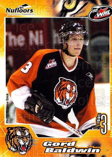 2005-06 Medicine Hat Tigers #1 Gord Baldwin<br/>1 In Stock - $3.00 each - <a href=https://centericecollectibles.foxycart.com/cart?name=2005-06%20Medicine%20Hat%20Tigers%20%231%20Gord%20Baldwin...&quantity_max=1&price=$3.00&code=127204 class=foxycart> Buy it now! </a>