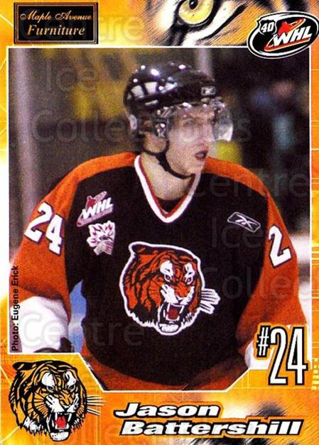 2005-06 Medicine Hat Tigers #3 Jason Battershill<br/>2 In Stock - $3.00 each - <a href=https://centericecollectibles.foxycart.com/cart?name=2005-06%20Medicine%20Hat%20Tigers%20%233%20Jason%20Battershi...&quantity_max=2&price=$3.00&code=127215 class=foxycart> Buy it now! </a>