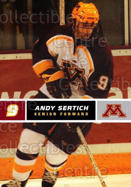 2005-06 Minnesota Golden Gophers #21 Andy Sertich<br/>4 In Stock - $3.00 each - <a href=https://centericecollectibles.foxycart.com/cart?name=2005-06%20Minnesota%20Golden%20Gophers%20%2321%20Andy%20Sertich...&quantity_max=4&price=$3.00&code=127232 class=foxycart> Buy it now! </a>