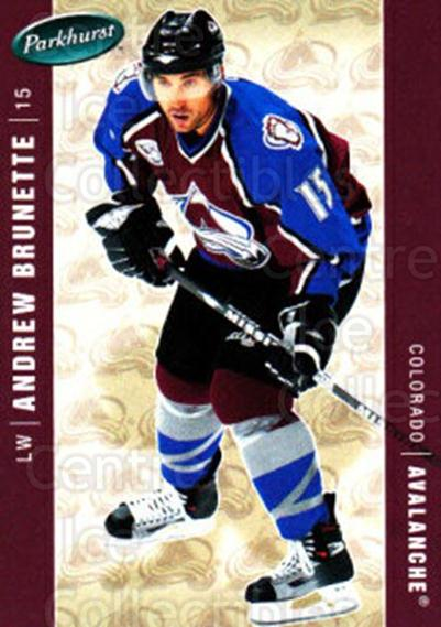 2005-06 Parkhurst #121 Andrew Brunette<br/>7 In Stock - $1.00 each - <a href=https://centericecollectibles.foxycart.com/cart?name=2005-06%20Parkhurst%20%23121%20Andrew%20Brunette...&quantity_max=7&price=$1.00&code=127665 class=foxycart> Buy it now! </a>