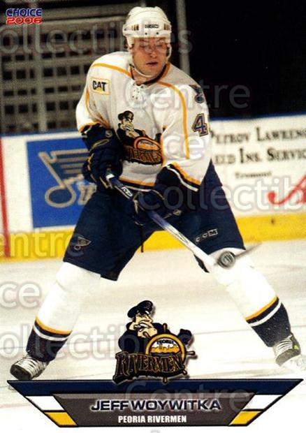 2005-06 Peoria Rivermen #23 Jeff Woywitka<br/>7 In Stock - $3.00 each - <a href=https://centericecollectibles.foxycart.com/cart?name=2005-06%20Peoria%20Rivermen%20%2323%20Jeff%20Woywitka...&price=$3.00&code=127789 class=foxycart> Buy it now! </a>