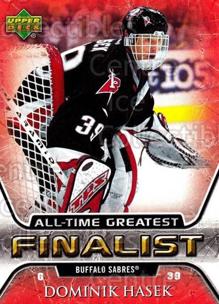 2005-06 Upper Deck All-Time Greatest #7 Dominik Hasek<br/>2 In Stock - $2.00 each - <a href=https://centericecollectibles.foxycart.com/cart?name=2005-06%20Upper%20Deck%20All-Time%20Greatest%20%237%20Dominik%20Hasek...&quantity_max=2&price=$2.00&code=128906 class=foxycart> Buy it now! </a>