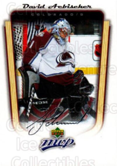 2005-06 Upper Deck MVP #103 David Aebischer<br/>5 In Stock - $1.00 each - <a href=https://centericecollectibles.foxycart.com/cart?name=2005-06%20Upper%20Deck%20MVP%20%23103%20David%20Aebischer...&quantity_max=5&price=$1.00&code=129097 class=foxycart> Buy it now! </a>