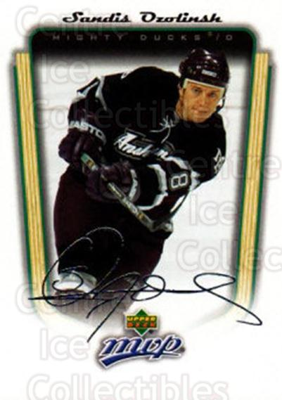 2005-06 Upper Deck MVP #2 Sandis Ozolinsh<br/>3 In Stock - $1.00 each - <a href=https://centericecollectibles.foxycart.com/cart?name=2005-06%20Upper%20Deck%20MVP%20%232%20Sandis%20Ozolinsh...&quantity_max=3&price=$1.00&code=129191 class=foxycart> Buy it now! </a>
