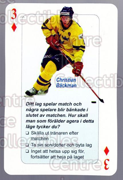 2006 Swedish Fair Play Respect Playing Card #26 Christian Backman<br/>3 In Stock - $2.00 each - <a href=https://centericecollectibles.foxycart.com/cart?name=2006%20Swedish%20Fair%20Play%20Respect%20Playing%20Card%20%2326%20Christian%20Backm...&quantity_max=3&price=$2.00&code=129678 class=foxycart> Buy it now! </a>