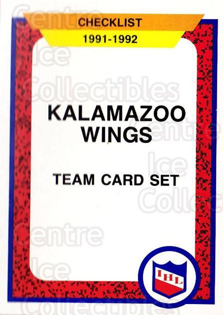 1991-92 ProCards AHL IHL #163 Kalamazoo Red Wings, Checklist<br/>2 In Stock - $2.00 each - <a href=https://centericecollectibles.foxycart.com/cart?name=1991-92%20ProCards%20AHL%20IHL%20%23163%20Kalamazoo%20Red%20W...&quantity_max=2&price=$2.00&code=13009 class=foxycart> Buy it now! </a>