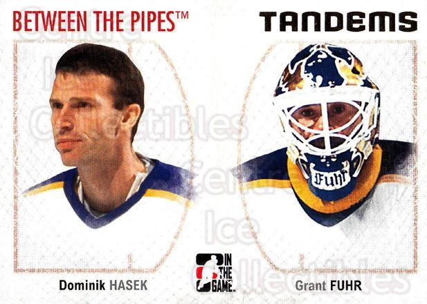 2006-07 Between The Pipes #142 Dominik Hasek, Grant Fuhr<br/>5 In Stock - $1.00 each - <a href=https://centericecollectibles.foxycart.com/cart?name=2006-07%20Between%20The%20Pipes%20%23142%20Dominik%20Hasek,%20...&price=$1.00&code=130207 class=foxycart> Buy it now! </a>