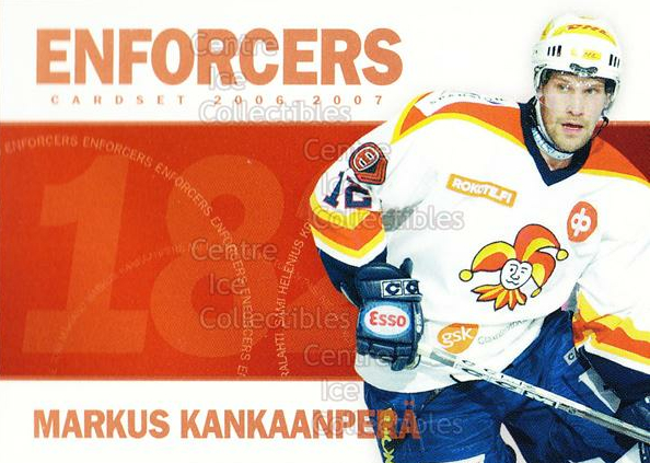 2006-07 Finnish Cardset Enforcers #8 Markus Kankaanpera<br/>7 In Stock - $3.00 each - <a href=https://centericecollectibles.foxycart.com/cart?name=2006-07%20Finnish%20Cardset%20Enforcers%20%238%20Markus%20Kankaanp...&price=$3.00&code=130877 class=foxycart> Buy it now! </a>