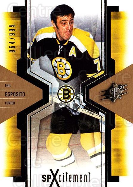 2006-07 SPx SPxcitement #10 Phil Esposito<br/>2 In Stock - $5.00 each - <a href=https://centericecollectibles.foxycart.com/cart?name=2006-07%20SPx%20SPxcitement%20%2310%20Phil%20Esposito...&quantity_max=2&price=$5.00&code=132864 class=foxycart> Buy it now! </a>