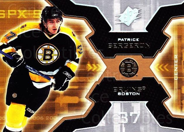 2006-07 SPx #7 Patrice Bergeron<br/>4 In Stock - $2.00 each - <a href=https://centericecollectibles.foxycart.com/cart?name=2006-07%20SPx%20%237%20Patrice%20Bergero...&quantity_max=4&price=$2.00&code=132993 class=foxycart> Buy it now! </a>