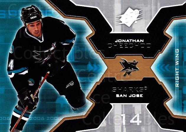 2006-07 SPx #86 Jonathan Cheechoo<br/>5 In Stock - $1.00 each - <a href=https://centericecollectibles.foxycart.com/cart?name=2006-07%20SPx%20%2386%20Jonathan%20Cheech...&quantity_max=5&price=$1.00&code=133009 class=foxycart> Buy it now! </a>