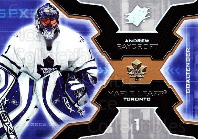 2006-07 SPx #93 Andrew Raycroft<br/>5 In Stock - $1.00 each - <a href=https://centericecollectibles.foxycart.com/cart?name=2006-07%20SPx%20%2393%20Andrew%20Raycroft...&quantity_max=5&price=$1.00&code=133017 class=foxycart> Buy it now! </a>