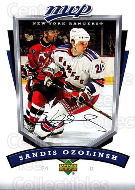 2006-07 Upper Deck MVP #197 Sandis Ozolinsh<br/>3 In Stock - $1.00 each - <a href=https://centericecollectibles.foxycart.com/cart?name=2006-07%20Upper%20Deck%20MVP%20%23197%20Sandis%20Ozolinsh...&quantity_max=3&price=$1.00&code=133613 class=foxycart> Buy it now! </a>