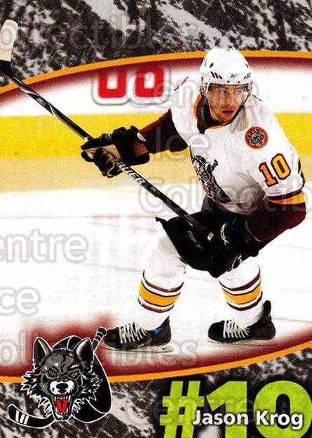 2007-08 Chicago Wolves #10 Jason Krog<br/>6 In Stock - $3.00 each - <a href=https://centericecollectibles.foxycart.com/cart?name=2007-08%20Chicago%20Wolves%20%2310%20Jason%20Krog...&quantity_max=6&price=$3.00&code=134524 class=foxycart> Buy it now! </a>