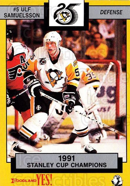1991-92 Pittsburgh Penguins Foodland #2 Ulf Samuelsson<br/>4 In Stock - $3.00 each - <a href=https://centericecollectibles.foxycart.com/cart?name=1991-92%20Pittsburgh%20Penguins%20Foodland%20%232%20Ulf%20Samuelsson...&quantity_max=4&price=$3.00&code=13476 class=foxycart> Buy it now! </a>
