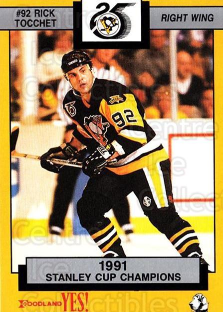 1991-92 Pittsburgh Penguins Foodland #5 Rick Tocchet<br/>7 In Stock - $3.00 each - <a href=https://centericecollectibles.foxycart.com/cart?name=1991-92%20Pittsburgh%20Penguins%20Foodland%20%235%20Rick%20Tocchet...&quantity_max=7&price=$3.00&code=13478 class=foxycart> Buy it now! </a>