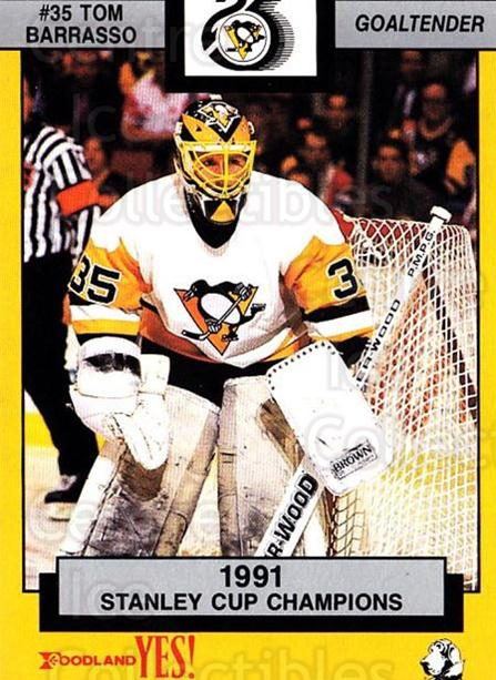 1991-92 Pittsburgh Penguins Foodland #9 Tom Barrasso<br/>1 In Stock - $3.00 each - <a href=https://centericecollectibles.foxycart.com/cart?name=1991-92%20Pittsburgh%20Penguins%20Foodland%20%239%20Tom%20Barrasso...&price=$3.00&code=13482 class=foxycart> Buy it now! </a>