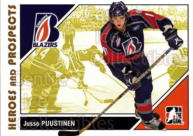 2007-08 ITG Heroes and Prospects #58 Juuso Puustinen<br/>21 In Stock - $1.00 each - <a href=https://centericecollectibles.foxycart.com/cart?name=2007-08%20ITG%20Heroes%20and%20Prospects%20%2358%20Juuso%20Puustinen...&price=$1.00&code=135131 class=foxycart> Buy it now! </a>