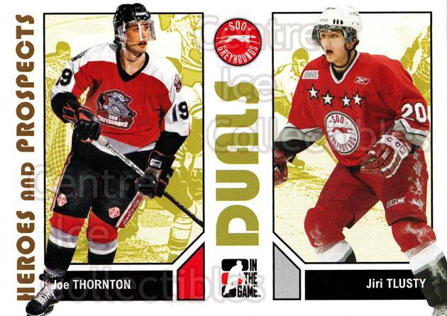2007-08 ITG Heroes and Prospects #96 Joe Thornton, Jiri Tlusty<br/>22 In Stock - $1.00 each - <a href=https://centericecollectibles.foxycart.com/cart?name=2007-08%20ITG%20Heroes%20and%20Prospects%20%2396%20Joe%20Thornton,%20J...&price=$1.00&code=135171 class=foxycart> Buy it now! </a>