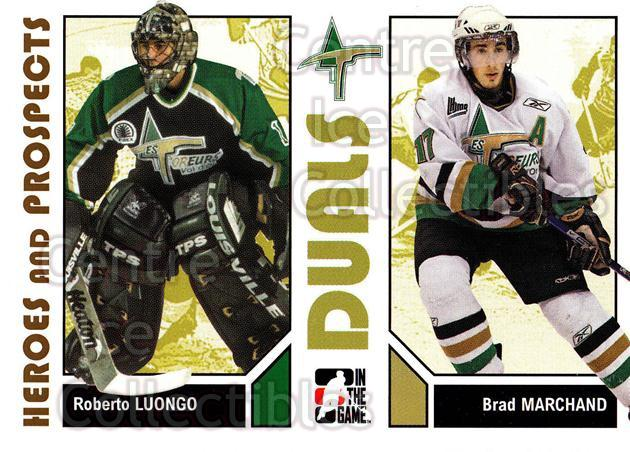 2007-08 ITG Heroes and Prospects #99 Roberto Luongo, Brad Marchand<br/>22 In Stock - $1.00 each - <a href=https://centericecollectibles.foxycart.com/cart?name=2007-08%20ITG%20Heroes%20and%20Prospects%20%2399%20Roberto%20Luongo,...&price=$1.00&code=135173 class=foxycart> Buy it now! </a>