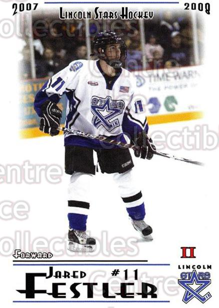 2007-08 Lincoln Stars #39 Jared Festler<br/>4 In Stock - $3.00 each - <a href=https://centericecollectibles.foxycart.com/cart?name=2007-08%20Lincoln%20Stars%20%2339%20Jared%20Festler...&quantity_max=4&price=$3.00&code=135321 class=foxycart> Buy it now! </a>