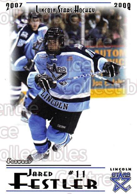 2007-08 Lincoln Stars #9 Jared Festler<br/>7 In Stock - $3.00 each - <a href=https://centericecollectibles.foxycart.com/cart?name=2007-08%20Lincoln%20Stars%20%239%20Jared%20Festler...&quantity_max=7&price=$3.00&code=135342 class=foxycart> Buy it now! </a>