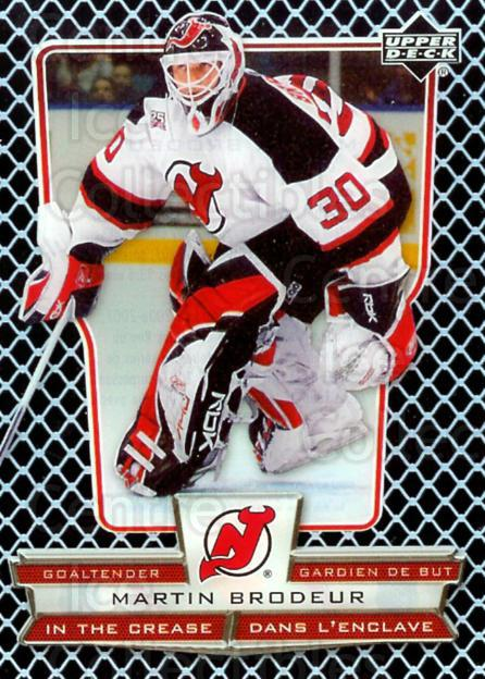 2007-08 McDonald's Upper Deck In the Crease #2 Martin Brodeur<br/>3 In Stock - $3.00 each - <a href=https://centericecollectibles.foxycart.com/cart?name=2007-08%20McDonald's%20Upper%20Deck%20In%20the%20Crease%20%232%20Martin%20Brodeur...&price=$3.00&code=135368 class=foxycart> Buy it now! </a>