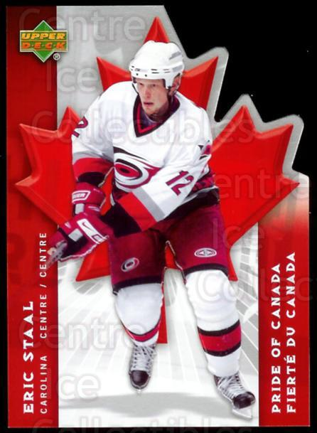 2007-08 McDonalds Upper Deck Pride of Canada #5 Eric Staal<br/>5 In Stock - $3.00 each - <a href=https://centericecollectibles.foxycart.com/cart?name=2007-08%20McDonalds%20Upper%20Deck%20Pride%20of%20Canada%20%235%20Eric%20Staal...&quantity_max=5&price=$3.00&code=135375 class=foxycart> Buy it now! </a>