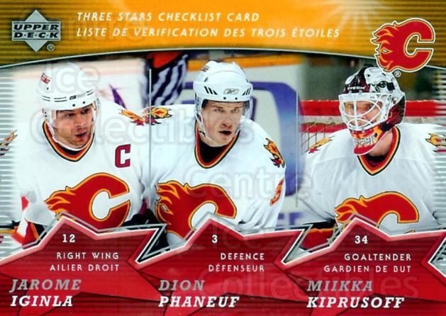 2007-08 McDonalds Upper Deck Three Stars Checklists #5 Miikka Kiprusoff, Dion Phaneuf, Jarome Iginla<br/>14 In Stock - $1.00 each - <a href=https://centericecollectibles.foxycart.com/cart?name=2007-08%20McDonalds%20Upper%20Deck%20Three%20Stars%20Checklists%20%235%20Miikka%20Kiprusof...&price=$1.00&code=135383 class=foxycart> Buy it now! </a>