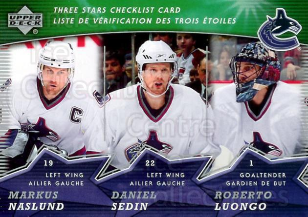2007-08 McDonalds Upper Deck Three Stars Checklists #6 Roberto Luongo, Daniel Sedin, Markus Naslund<br/>17 In Stock - $1.00 each - <a href=https://centericecollectibles.foxycart.com/cart?name=2007-08%20McDonalds%20Upper%20Deck%20Three%20Stars%20Checklists%20%236%20Roberto%20Luongo,...&price=$1.00&code=135384 class=foxycart> Buy it now! </a>