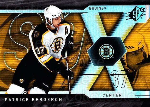 2007-08 SPx #67 Patrice Bergeron<br/>4 In Stock - $2.00 each - <a href=https://centericecollectibles.foxycart.com/cart?name=2007-08%20SPx%20%2367%20Patrice%20Bergero...&quantity_max=4&price=$2.00&code=135860 class=foxycart> Buy it now! </a>