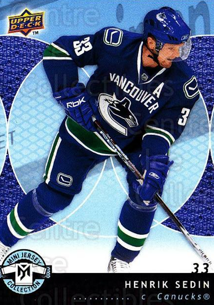 2007-08 UD Mini Jersey Collection #96 Henrik Sedin<br/>4 In Stock - $1.00 each - <a href=https://centericecollectibles.foxycart.com/cart?name=2007-08%20UD%20Mini%20Jersey%20Collection%20%2396%20Henrik%20Sedin...&quantity_max=4&price=$1.00&code=136057 class=foxycart> Buy it now! </a>