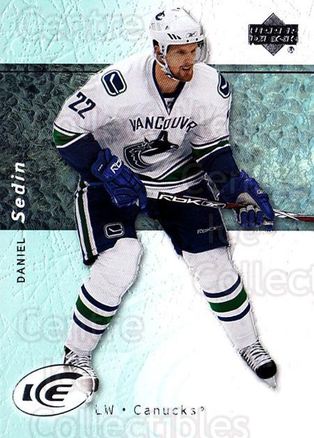 2007-08 UD Ice #85 Daniel Sedin<br/>6 In Stock - $2.00 each - <a href=https://centericecollectibles.foxycart.com/cart?name=2007-08%20UD%20Ice%20%2385%20Daniel%20Sedin...&quantity_max=6&price=$2.00&code=136292 class=foxycart> Buy it now! </a>