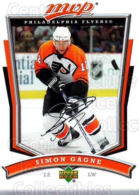 2007-08 Upper Deck MVP #122 Simon Gagne<br/>5 In Stock - $1.00 each - <a href=https://centericecollectibles.foxycart.com/cart?name=2007-08%20Upper%20Deck%20MVP%20%23122%20Simon%20Gagne...&quantity_max=5&price=$1.00&code=136359 class=foxycart> Buy it now! </a>