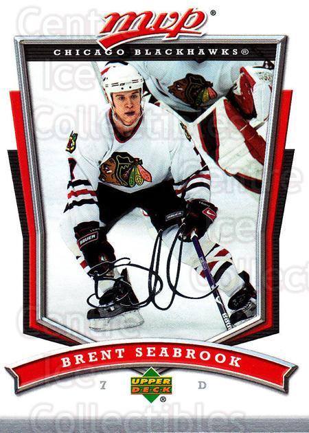 2007-08 Upper Deck MVP #18 Brent Seabrook<br/>4 In Stock - $1.00 each - <a href=https://centericecollectibles.foxycart.com/cart?name=2007-08%20Upper%20Deck%20MVP%20%2318%20Brent%20Seabrook...&quantity_max=4&price=$1.00&code=136422 class=foxycart> Buy it now! </a>