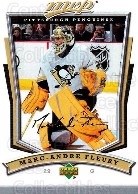2007-08 Upper Deck MVP #204 Marc-Andre Fleury<br/>4 In Stock - $2.00 each - <a href=https://centericecollectibles.foxycart.com/cart?name=2007-08%20Upper%20Deck%20MVP%20%23204%20Marc-Andre%20Fleu...&quantity_max=4&price=$2.00&code=136450 class=foxycart> Buy it now! </a>