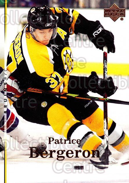 2007-08 Upper Deck #162 Patrice Bergeron<br/>12 In Stock - $2.00 each - <a href=https://centericecollectibles.foxycart.com/cart?name=2007-08%20Upper%20Deck%20%23162%20Patrice%20Bergero...&quantity_max=12&price=$2.00&code=136851 class=foxycart> Buy it now! </a>