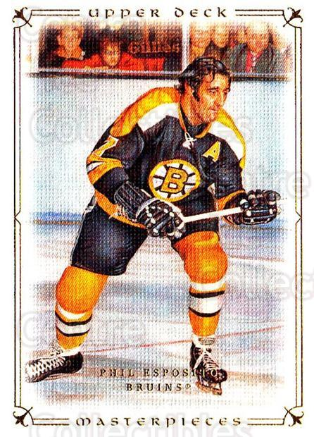 2008-09 UD Masterpieces #83 Phil Esposito<br/>5 In Stock - $2.00 each - <a href=https://centericecollectibles.foxycart.com/cart?name=2008-09%20UD%20Masterpieces%20%2383%20Phil%20Esposito...&quantity_max=5&price=$2.00&code=137038 class=foxycart> Buy it now! </a>