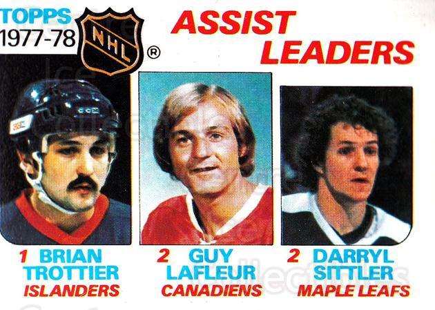 1978-79 Topps #64 Bryan Trottier, Darryl Sittler, Guy Lafleur<br/>5 In Stock - $3.00 each - <a href=https://centericecollectibles.foxycart.com/cart?name=1978-79%20Topps%20%2364%20Bryan%20Trottier,...&quantity_max=5&price=$3.00&code=137290 class=foxycart> Buy it now! </a>